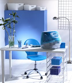 Decoraci n de oficinas azules for Decoracion de oficinas pequenas fotos
