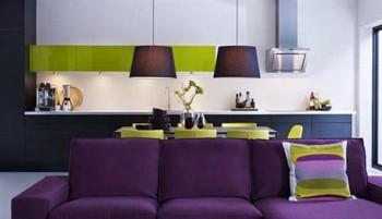 Decorar sala violeta y verde