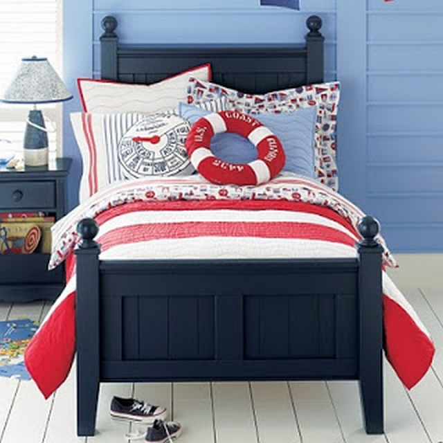 Ideas para decorar dormitorio en rojo y azul 3