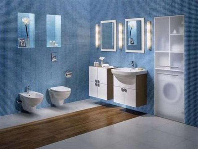 Ideas para decorar un baño azul moderno 2
