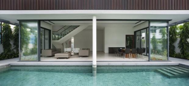 Vivienda moderna en Singapur alberca