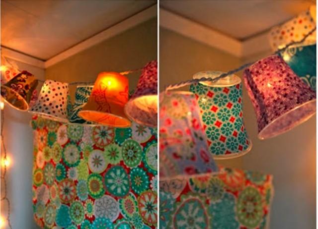 Como hacer guirnaldas de lamparas para decorar 3