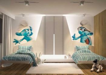 Decoracion de dormitorio infantil tematica Pitufo