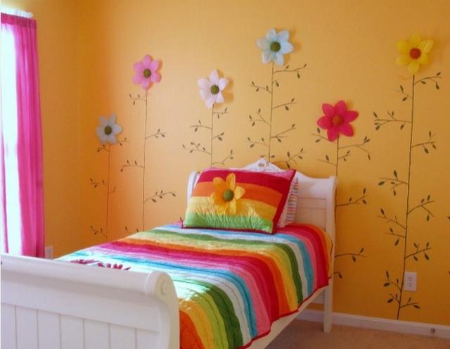 Dormitorio de niñas decorado con flores 3
