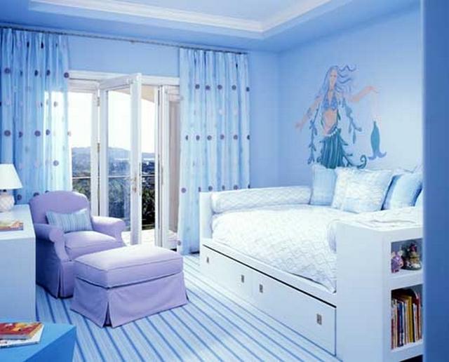 Dormitorio infantil de niñas tematica sirenas 1