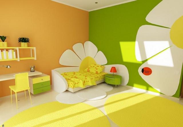 Dormitorio infantil decorado en amarillo y verde 3