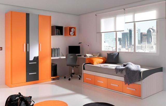 Dormitorio juvenil moderno en gris y naranja - Habitaciones color naranja ...