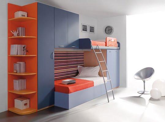 Dormitorio juvenil moderno en gris y naranja Dormitorio juvenil en l