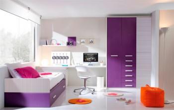 Habitaci n juvenil en color lila o morado for Cielos falsos para dormitorios