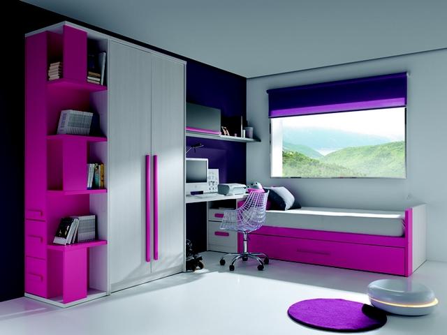 Dormitorio de niñas en fucsia y lila 2