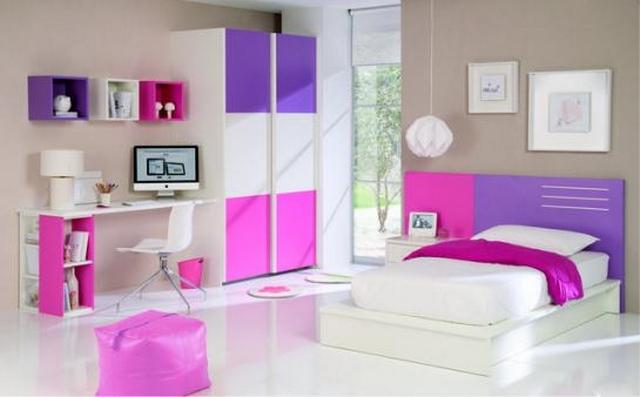 Dormitorio de niñas en fucsia y lila