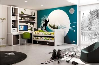 Dormitorio juvenil tematica snowboarding