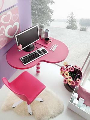 Escritorio con forma de coraz n para decoraciones juveniles for Decoracion de escritorios
