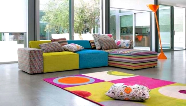 Ideas para decorar sala con sof multicolor - Sofas de dos colores ...