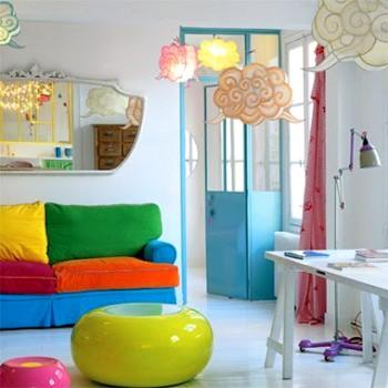 Ideas para decorar sala con sofa multicolor