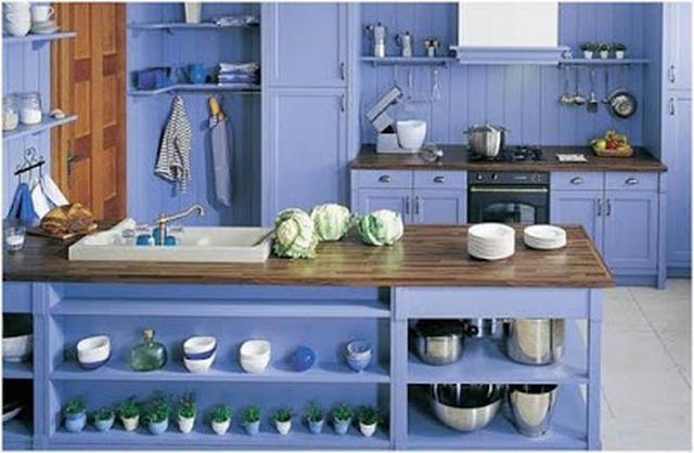 Mueble de cocina color azul 2