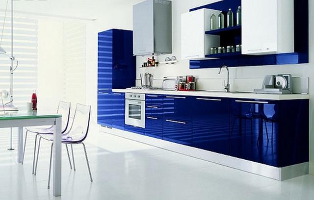 Mueble de cocina color azul