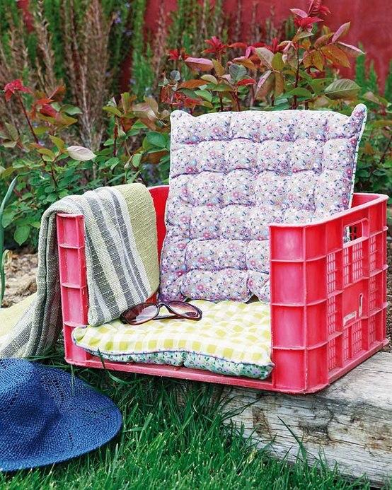 asiento reciclado para el jardín.