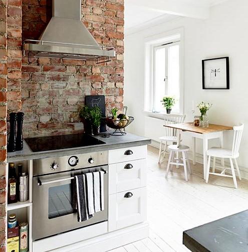 Pared de piedra en la cocina for Cocina en la cocina