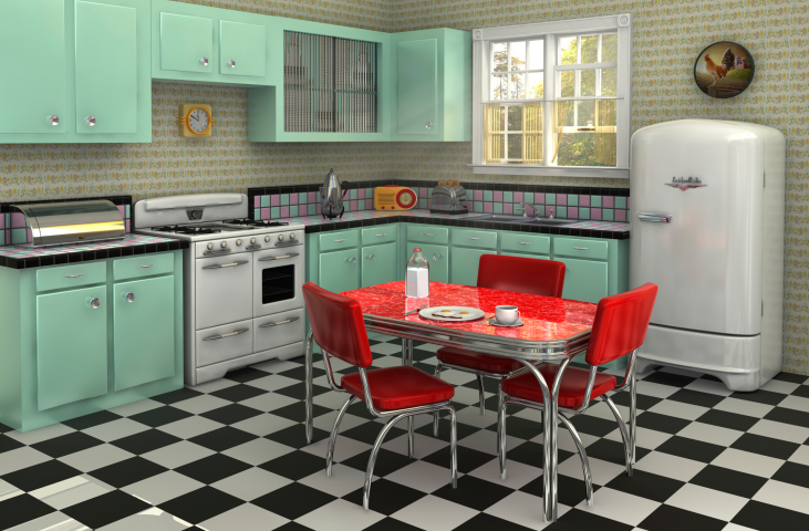 Decoracion de una cocina con estilo vintage - Muebles de cocina estilo retro ...