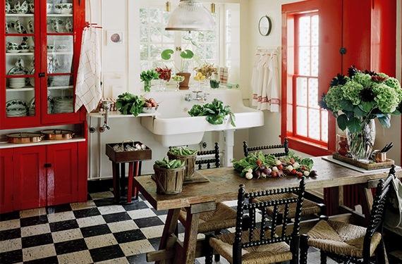 decoracion de una cocina con estilo vintage. Black Bedroom Furniture Sets. Home Design Ideas