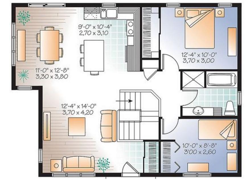 Planos de casas gratis con medidas for Plano casa un piso