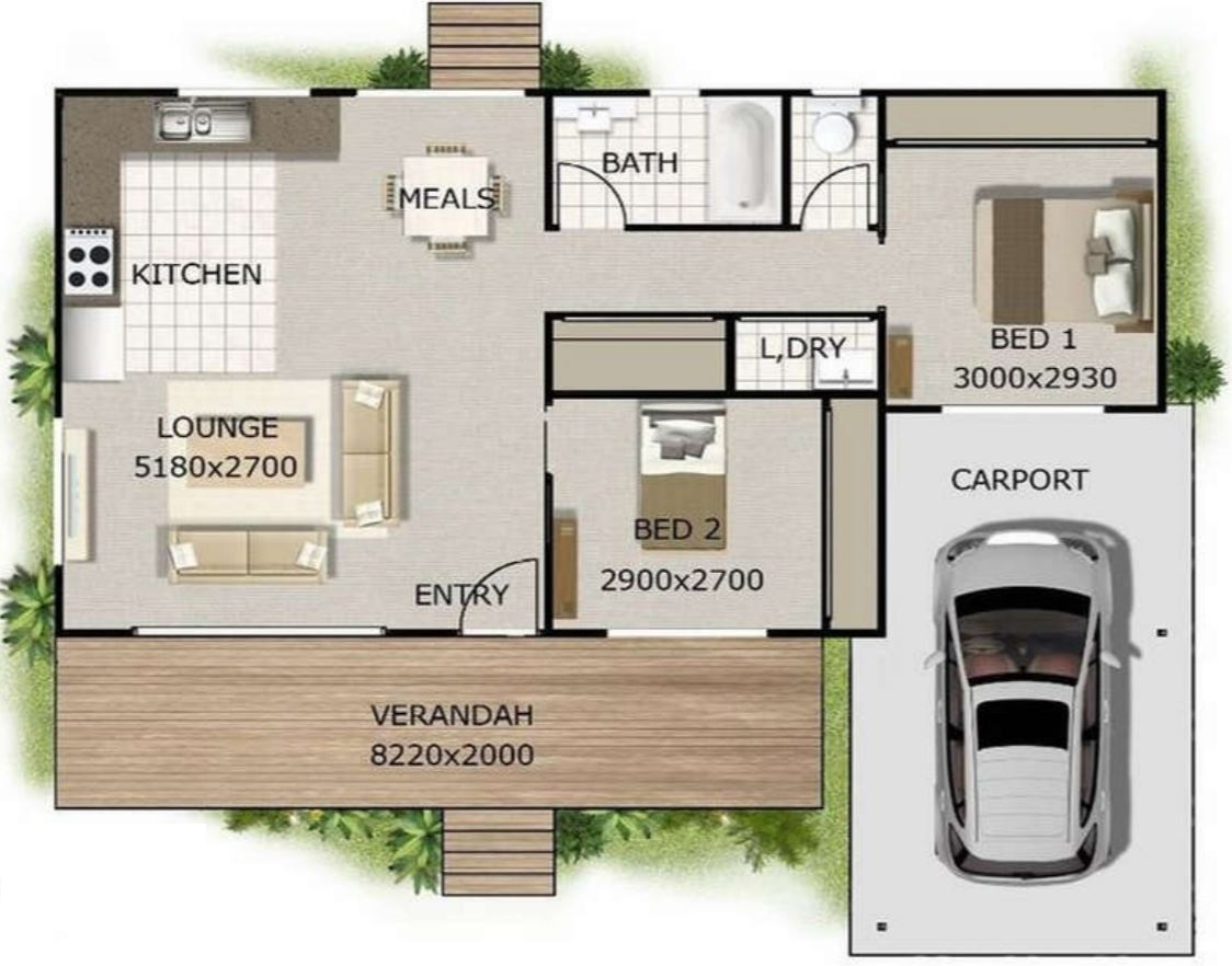 Planos de casas con medidas for Casa minimalista 100 metros