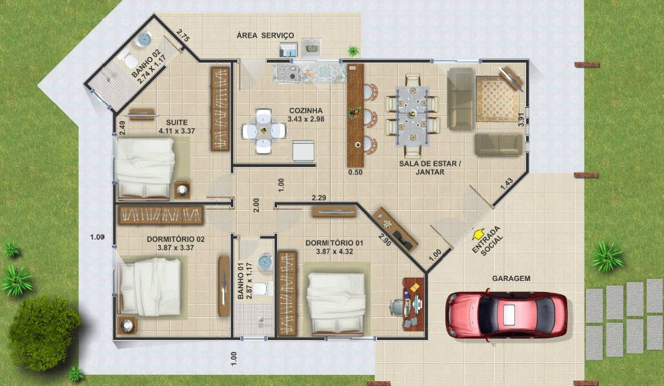 Planos de casas con medidas - Planos de casas pareadas ...