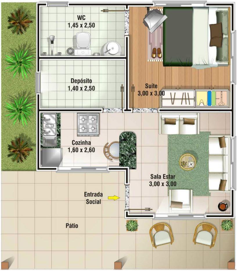 Planos de casas con medidas for Casa de una planta sencilla