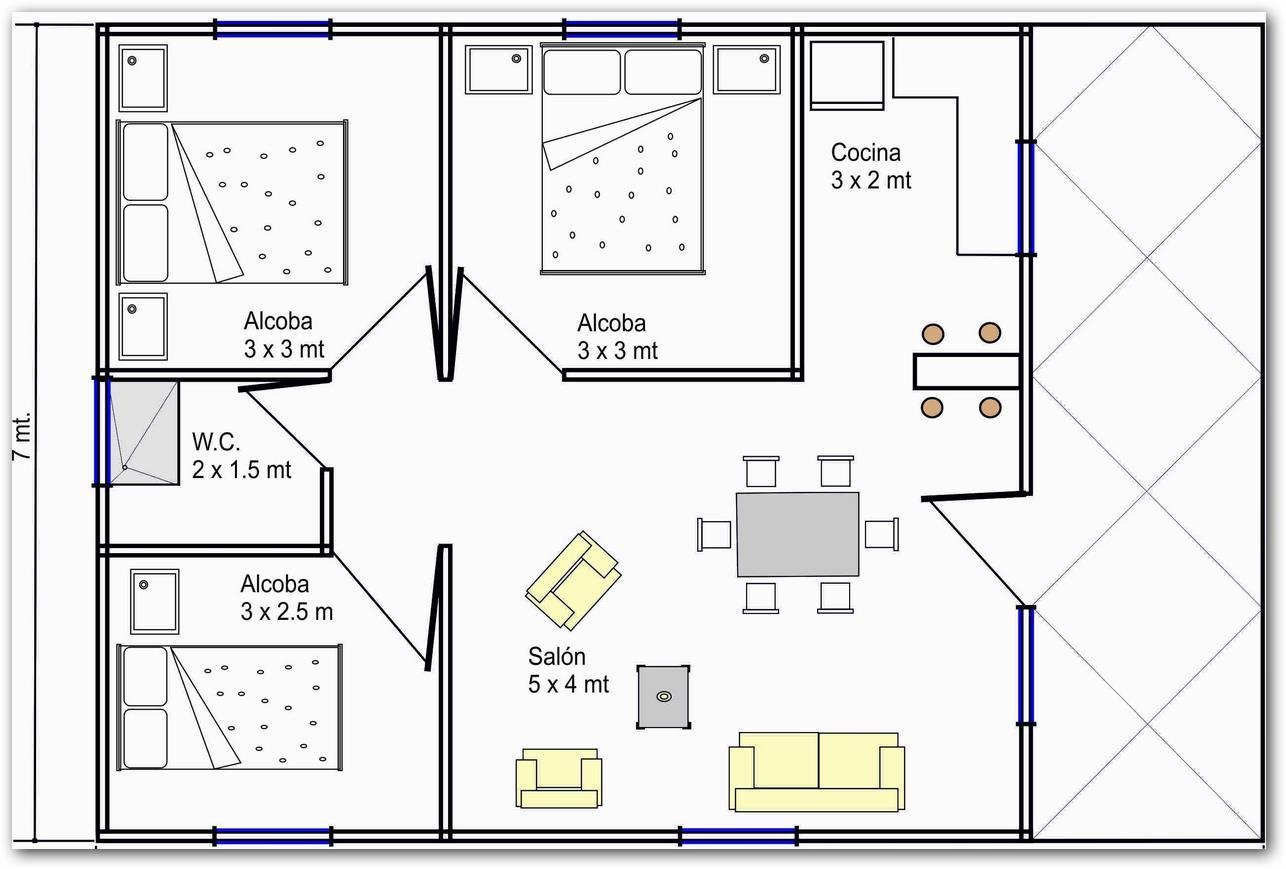 Planos de casas gratis con medidas - Habitaciones para tres ...