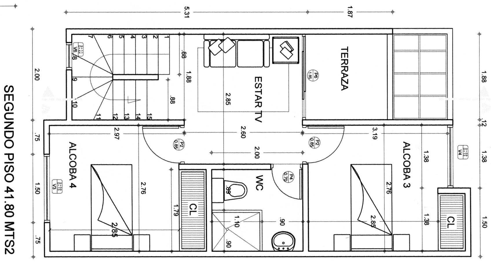 Planos De Casas Gratis Con Medidas -> Medidas De Una Sala De Tv