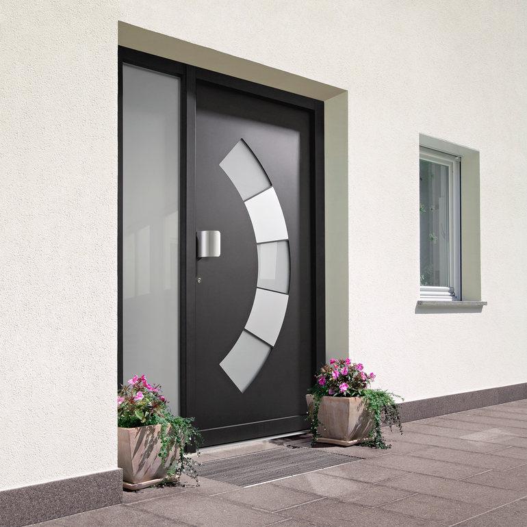 Fotos de puertas de aluminio modernas for Puertas de madera con vidrio modernas