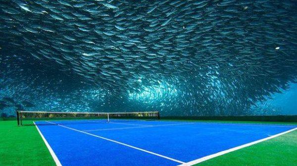 Cancha de tenis submarina en Dubai, diseño