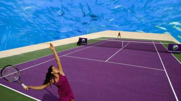 Cancha de tenis submarina en Dubai, proyecto