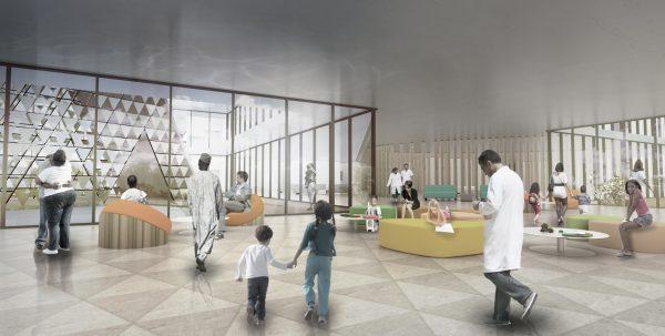 Especificaciones arquitectónicas del Centro de Cáncer en Ruanda.