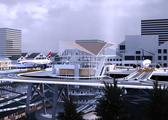 Primer aeropuerto sobre las calles de la ciudad, imágenes