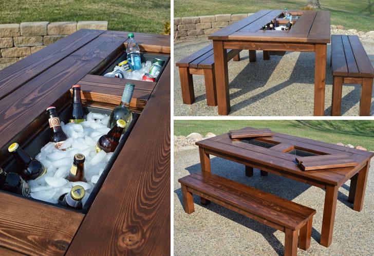 Mesa hielera una nueva forma de llevar el bar al jard n for Mesas hechas con puertas antiguas
