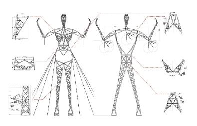 Torres eléctricas con forma humana..