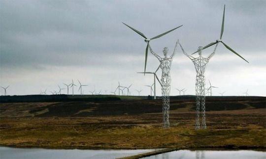 Torres eléctricas con forma humana,