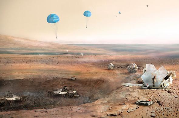 Construcción de viviendas en Marte.