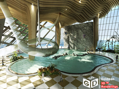 Parque acuático vertical.