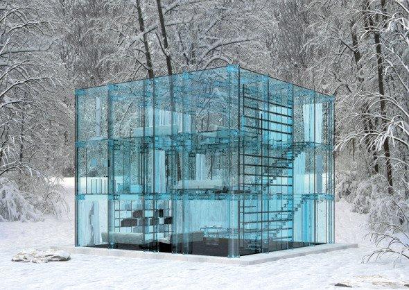 Casa de nieve, de cristal