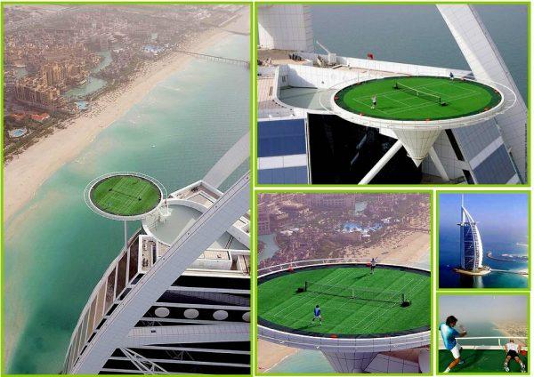 cancha de tenis del hotel burj al arab