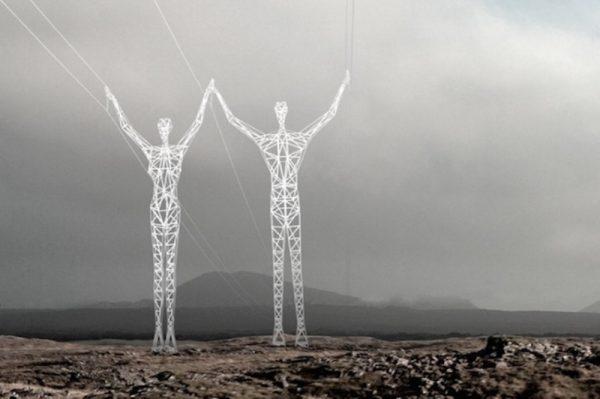 Las torres eléctricas con forma de ser humano